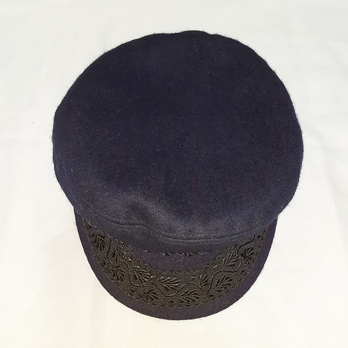 Vintage Wool Mariner's Cap with Black Trim