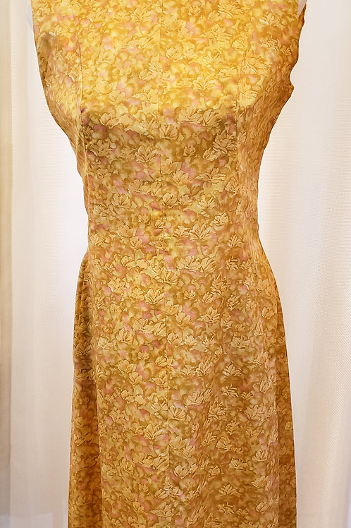 Vintage Gold Floral Handmade Dress