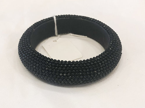 Vintage Black Beaded Bangle