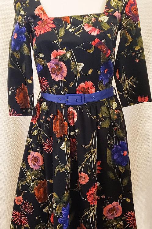 Vintage-Inspired Black Floral Dress with Belt