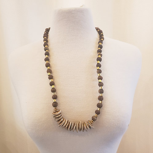Vintage Gold and Wooden Necklace
