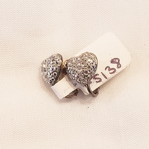 Vintage Rhinestone Heart Clip-On Earrings