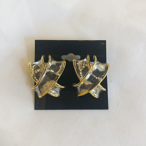 Vintage Silver and Gold Clip-On Earrings