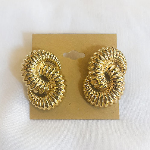 Vintage Gold Linked Clip-On Earrings