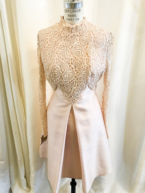 Vintage Pink Dress with Lace Bodice