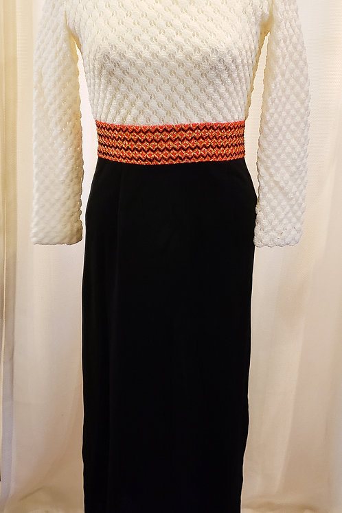 Vintage 1960's - 1970's White and Black Maxidress