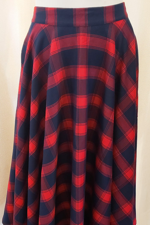 Vintage-Inspired Blue and Red Plaid Skirt