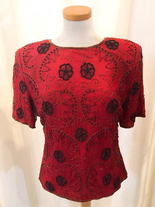 Vintage Red Stenay Beaded Blouse