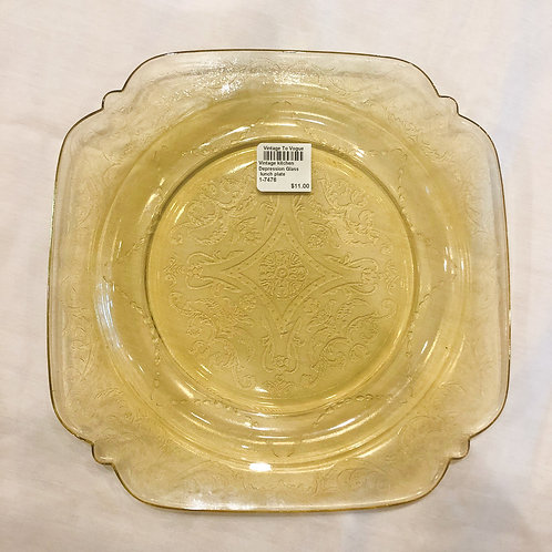 Vintage Yellow Depression Glass Lunch Plate