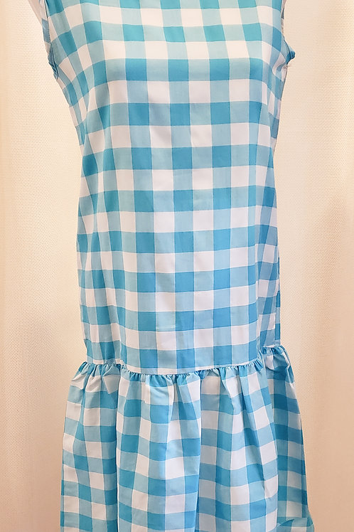 Vintage Blue and White Gingham Drop-Waist Dress