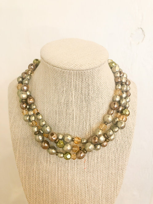 Vintage Green and Gold Cluster Necklace