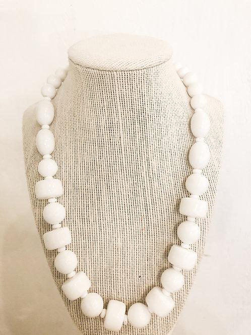 Vintage White Geometric Beaded Necklace