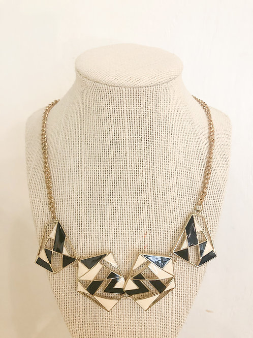 Vintage Black and White Geometric Necklace
