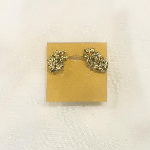 Vintage Mid-Century Yellow Flower Clip-On Earrings