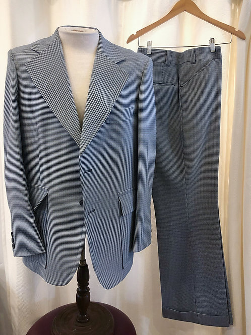 Vintage Marx Haas Blue Houndstooth Two-Piece Suit