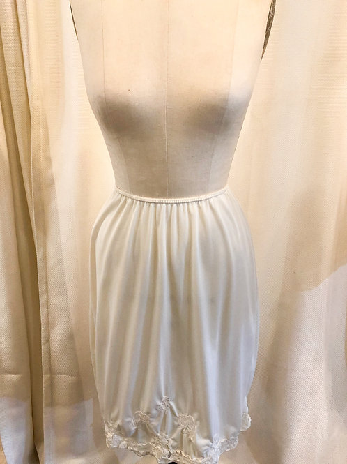Vintage White Slip with Lace Trim and Side Slit