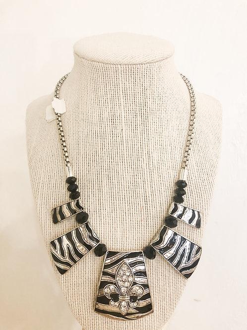 Vintage Zebra Fleur de Lis Necklace