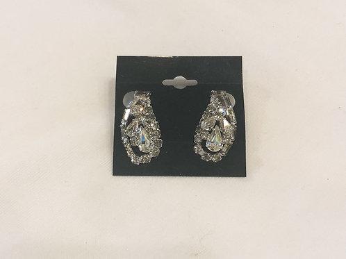 Vintage Rhinestone Teardrop Clip-On Earrings