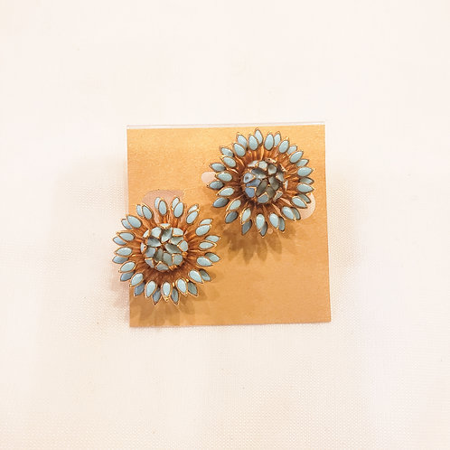 Vintage Blue and Gold Flower Clip-On Earrings
