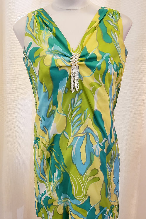 Vintage Blue and Green Tropical Minidress