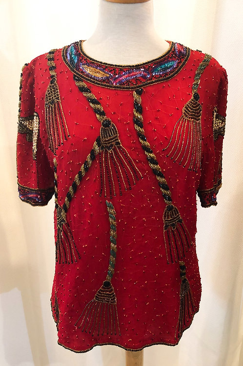 Vintage Red Laurence Kazar Beaded Blouse