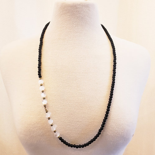 Vintage Black Necklace with White Details