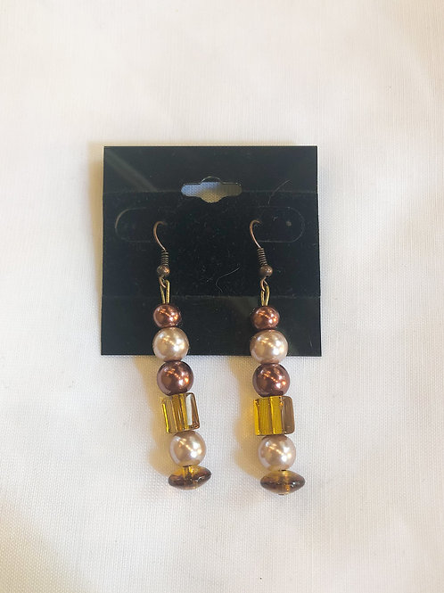 Vintage Pearl and Amber Dangle Earrings