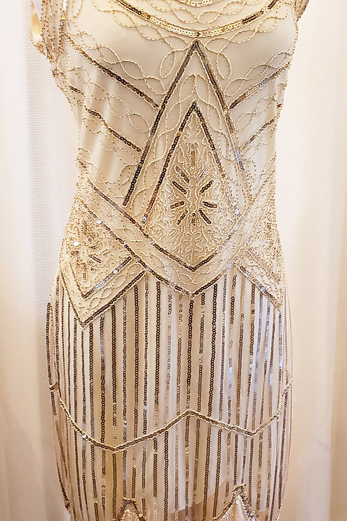 Vintage-Inspired Cream Sequin Dress