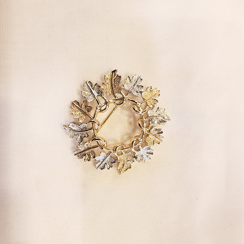 Vintage Silver and Gold Wreath Brooch