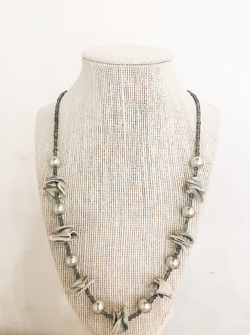 Vintage Blue Seashell Beaded Necklace