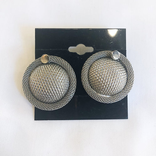 Vintage Silver Textured Clip-On Earrings
