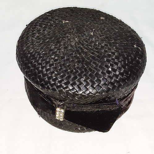 Vintage Black Woven Hat with Bow