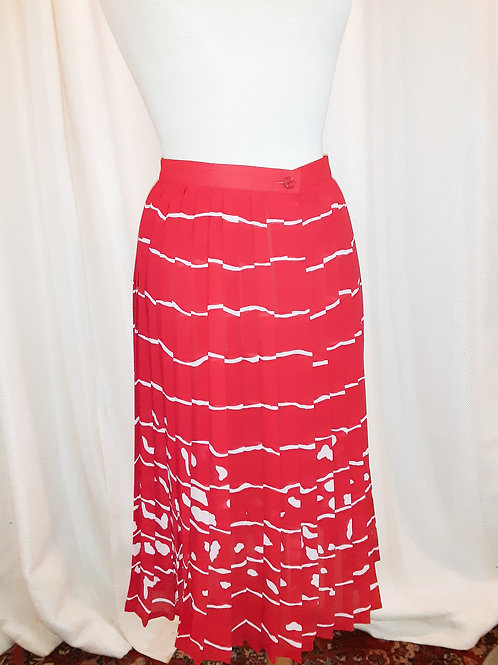 Vintage Red Striped Pleated Skirt