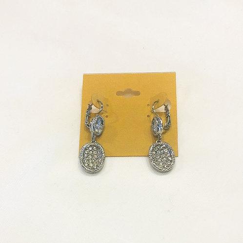 Vintage Rhinestone Oval Drop Earrings