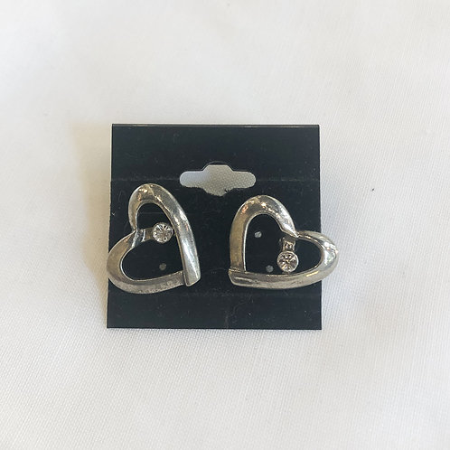 Vintage Rhinestone Heart Earrings