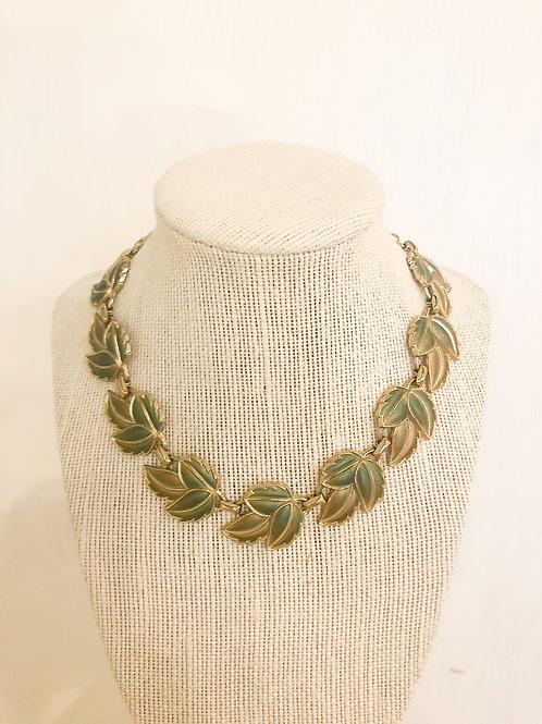 Vintage Green and Gold Leaf Necklace