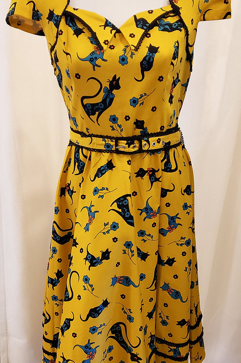 Vintage-Inspired Yellow Cat Dress