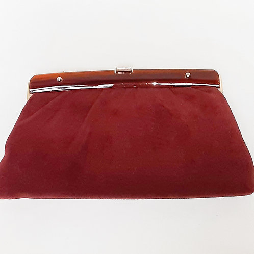 Vintage Burgundy Suede Purse