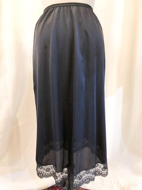 Vintage Black Slip with Lace Trim