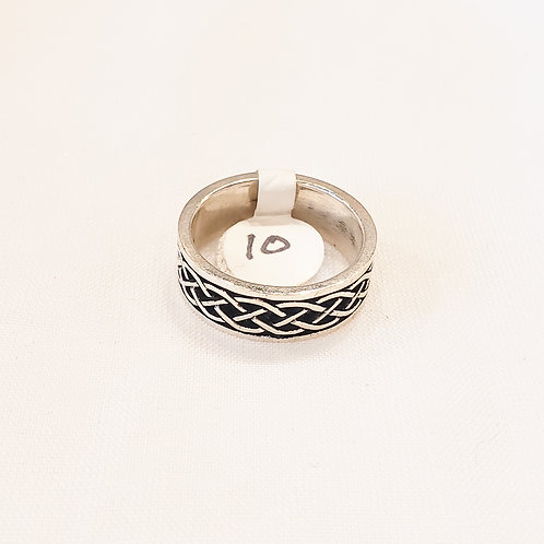 Vintage Sterling Silver and Black Braided Ring