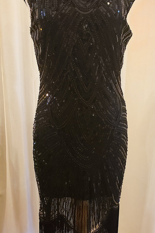 Vintage-Inspired Black Sequin Dress with Cap Sleeves