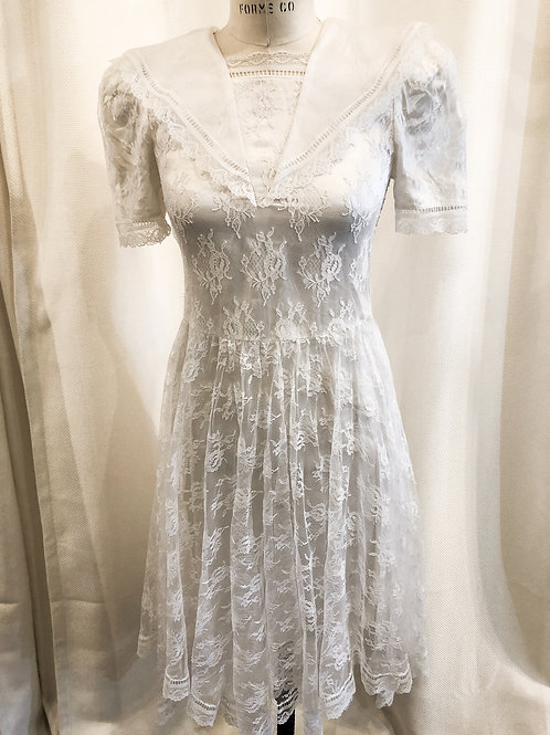 Vintage White Lace Gunne Sax Dress