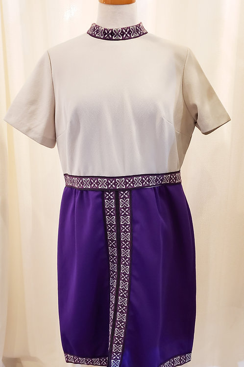 Vintage White and Purple Dress