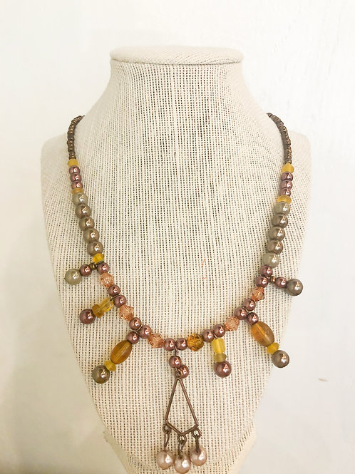 Vintage Beaded Necklace with Pendant