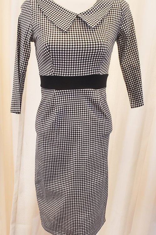 Vintage-Inspired Black and White Small Gingham Dress