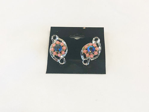 Vintage Pink and Blue Flower Clip-On Earrings