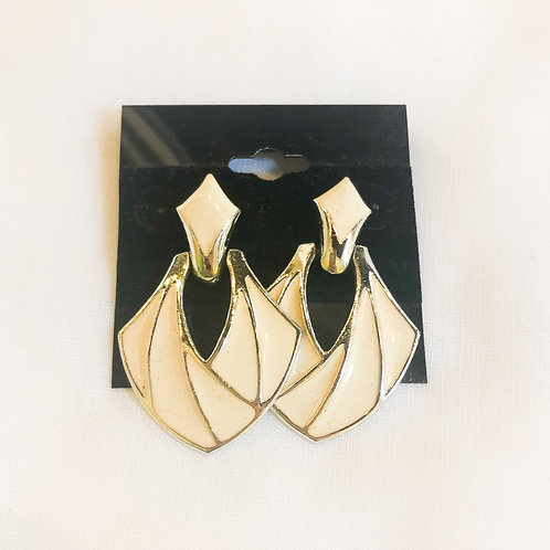 Vintage White and Gold Geometric Earrings