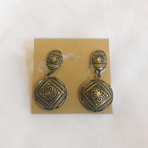 Vintage Patterned Screw-back Drop Earrings