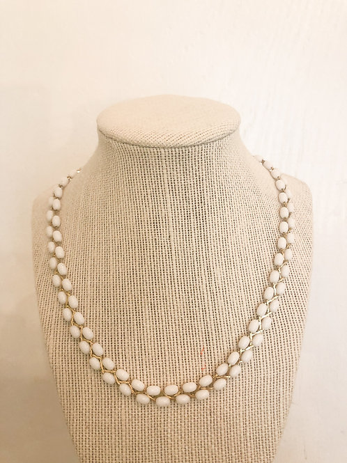 Vintage White and Gold Beaded Necklace