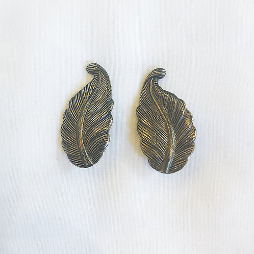 Vintage Feather Clip-On Earrings